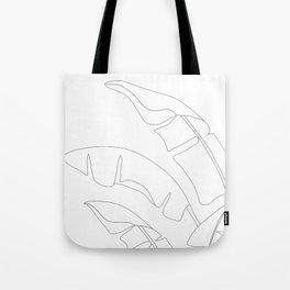 Minimal Line Art Banana Leaves Tote Bag