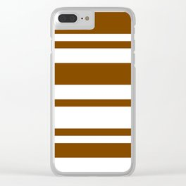 Mixed Horizontal Stripes - White and Chocolate Brown Clear iPhone Case