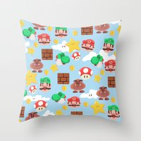 super mario Throw Pillows featuring Super Mario by Clef
