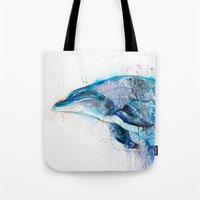 dolphin Tote Bags featuring Dolphin  by Slaveika Aladjova