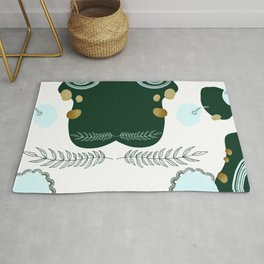 Abstract Shapes & Leaves in Forest Green & Metallic Gold Flecks Rug