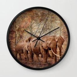 Elephants family on a walk Wall Clock