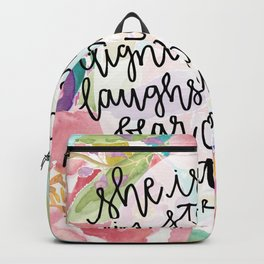 Proverbs 31:25 Floral // Hand Lettering Backpack