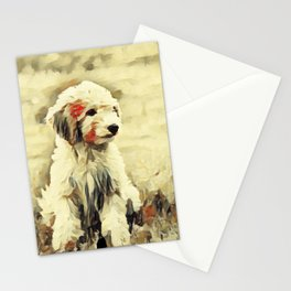 watercolor golden doodle Dog Portrait Stationery Cards