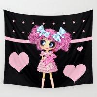 lolita Wall Tapestries featuring Kawaii Girl PinkyP Cute black pink heart Lolita by LeahG PinkyP creator