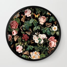 Floral and Butterflies Wall Clock