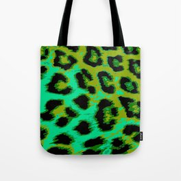 Aqua and Apple Green Leopard Spots Tote Bag