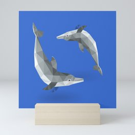 Low Polygon Dolphins Mini Art Print