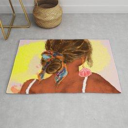 Watercolor painting of summer boho girl Rug