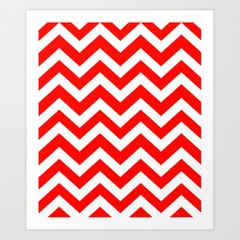 Candy apple red - red color - Zigzag Chevron Pattern Art Print