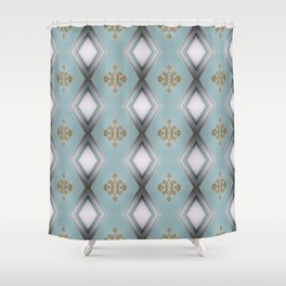 Soft Teal Blue & Gold No. 1 Shower Curtain