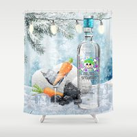 vodka Shower Curtains featuring Holiday Cheer! (Melted Snowman Spirits) by soaring anchor designs