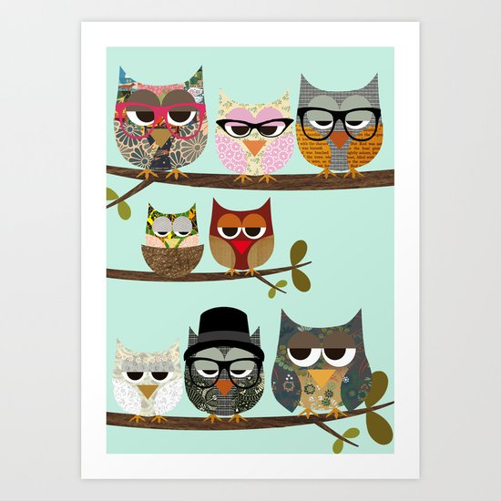 Nerd Owls - Me and my friends collage poster print Art Print