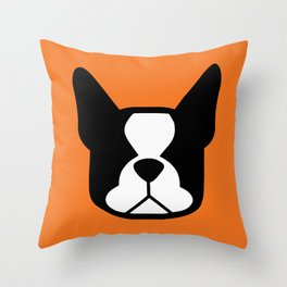 Boston Terrier - bold and moden in orange Throw Pillow
