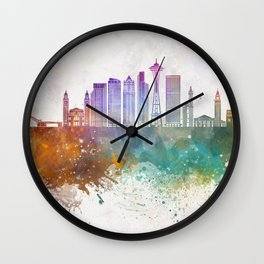 Seattle V2 skyline in watercolor background Wall Clock