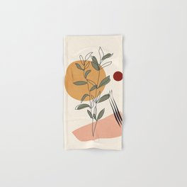 Minimal Line Young Leaves Hand & Bath Towel