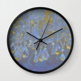 Champagne Ballroom closeup, glowing glitter fantasy chandelier Wall Clock
