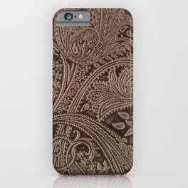 Cocoa Brown Tooled Leather iPhone Case