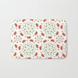 Coral Mum Floral Pattern - Realistic Flowers - Chrysanthemum Bloom Patterns Bath Mat