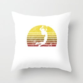 Volleyball Team Ball Game Spiking Action Sports Gift Vintage Volleyball Throw Pillow