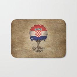 Vintage Tree of Life with Flag of Croatia Bath Mat