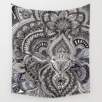 zentangle Wall Tapestries featuring zentangle by paucarbajal