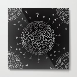 Heartful mandala (black and white) Metal Print