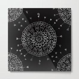 Heartful mandala (black and white) Metal Print