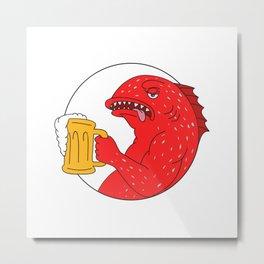 Coral Trout Beer Mug Circle Drawing Metal Print