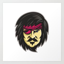 Corsair With Eye Patch Mascot Art Print