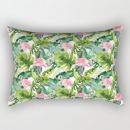 Let's Flamingle Watercolor Flamingo Flowers and Leaves Rectangular Pillow
