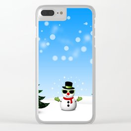 Cool Snowman and Sparkly Christmas Trees Clear iPhone Case