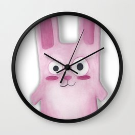 Watercolor Freezer Bunny Wall Clock