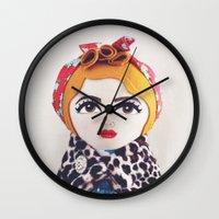 rockabilly Wall Clocks featuring Rockabilly Girl by A Little Vintage