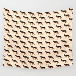 German Shepherd: Red & Black Wall Tapestry
