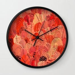 Red Foliage Pattern Wall Clock