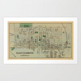 Map of Saint Andrews 1878 Art Print