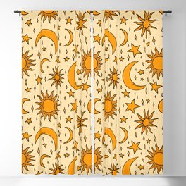Vintage Sun and Star Print Blackout Curtain