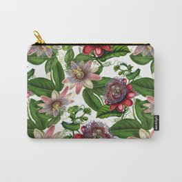 Vintage & Shabby Chic- Retro Passiflora Garden Flower Pattern Carry-All Pouch