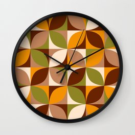 Retro 70s circles mix autumn colors brown orange green Wall Clock