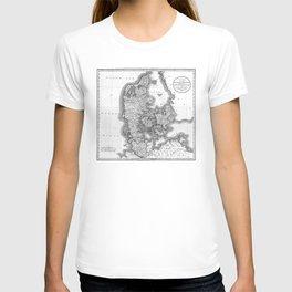 Vintage Map of Denmark (1801) BW T-shirt