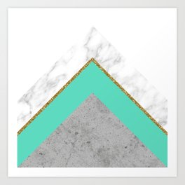 Concrete Teal Triangles Art Print