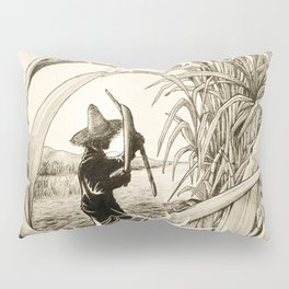 Sugar Cane Worker Cutting Canes Pencil Hand Drawing Vintage Style  Pillow Sham