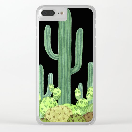 Night Desert Prickly Cactus Bunch Clear iPhone Case