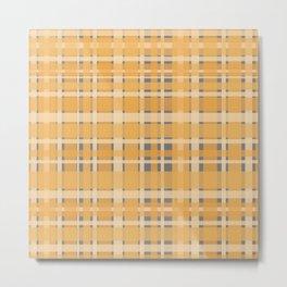 Retro Modern Plaid Pattern in Mustard Yellow and Gray Metal Print