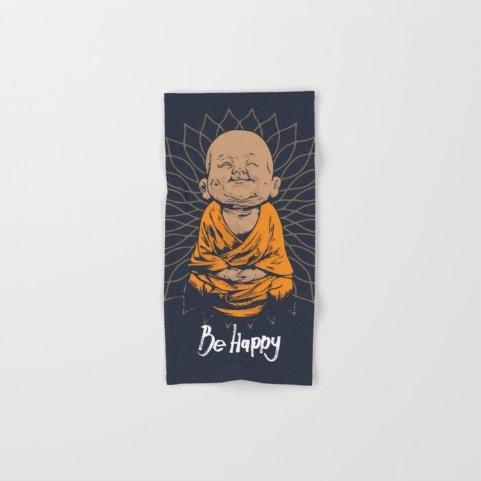 Be happy little buddha hand bath towel