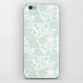 Vintage elegant pastel green white stylish floral iPhone Skin