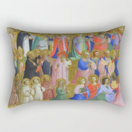 """Fra Angelico (Guido di Pietro) """"The Virgin Mary with the Apostles and Other Saints"""" Rectangular Pillow"""