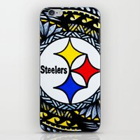 steelers iPhone & iPod Skins featuring New Tribal Steelers by Lonica Photography & Poly Designs