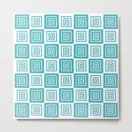 Mid Century Modern Geometric Checker 821 Turquoise Metal Print
